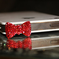 Red Crystal Bow iPhone Plug