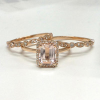 ONLY the Morganite Engagement Ring 14K Rose Gold,Diamond Halo,6x8mm Emerald Cut Pink Morganite,Plain gold band,Promise ring,wedding ring