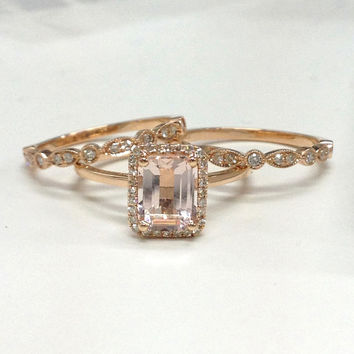 Shop Rose Gold Pink Morganite Rings on Wanelo