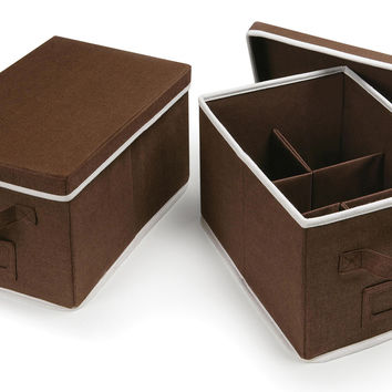 Badger Baskets Medium Folding Storage Baskets with Adjustable Dividers (Set of 2 Espresso)