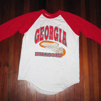 This Shirt Is Not UGA-ly! - Vintage 1980s 3/4 sleeve UGA University of Georgia Bulldogs Basketball T-Shirt - 50/50 -  Athens, GA