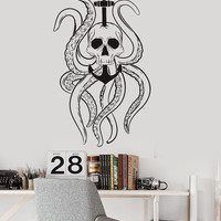 Vinyl Wall Decal Octopus Tentacles Skull Anchor Nautical Ocean Stickers (ig3584)