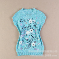 Light Blue Floral Print Knitted Sleeveless Sweatshirt