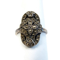 JUDITH JACK Sterling Silver Marcasite Ring, Size 9, Edwardian Style, Vintage Jewelry, Art Deco Ring, 925 Silver, Flower Ring, Sterling Ring
