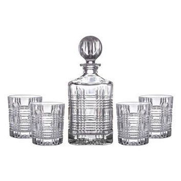 Portland 5-Piece Decanter & Whiskey Glasses Set