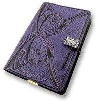 Purple Butterfly Embossed Leather Writing Journal, 6 x 9-inch, refillable