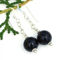 Black Onyx and Sterling Silver Dangle Earrings, Gemstone Jewelry Gift