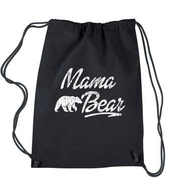 Mama Bear Vintage Distressed Drawstring Backpack