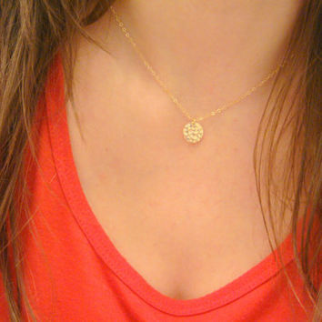 Gold Hammered Disc Necklace, Simple Layering Necklace, Everyday Initial Necklace, Necklace for Layering, Personalized Initial Necklace