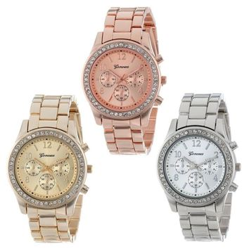 Geneva Stainless Steel Watch with Rhinestones