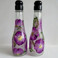 Salt and Pepper shakers, Oil Dispensers, soap dispenser, champagene bottles, outdoor kitchen, picnic shaker, table decor, Purple flowers