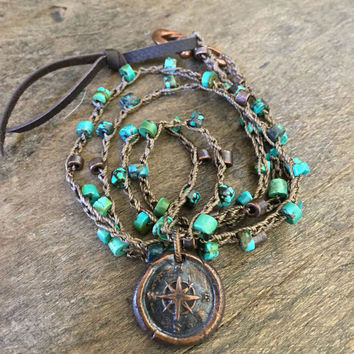 Copper Compass Crochet Necklace, Turquoise Gemstone Boho Necklace, Wax Seal Jewelry, Knotted Bohemian Beaded Jewelry by Two Silver Sisters