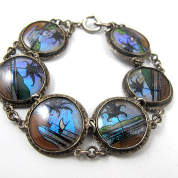 Vintage Butterfly Wing Bracelet, Morpho Butterfly Wing, Reverse Glass Hand Painted Scenic Panel Bracelet 1940's