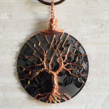 Tree of Life silver colored copper wire wrapped metal slice with Etched Flowers effect