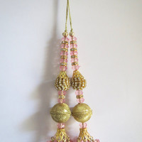 Royal Blue and Gold Handcrafted Glass Bead Traditional Tassel / Embellishment / Decoration / Latkan Supply 1 pair India