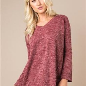 Blurred Lines Heathered Top by Simply Noelle
