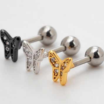 Lovely butterfly zircon earrings Stainless steel antiallergic tragus Earring body jewelry -0428-Gifts box