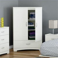 White Clothes Storage Wardrobe Cabinet Armoire with Bottom Drawer
