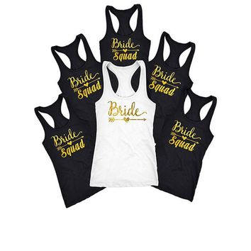 Bride Squad Letter Print Sexy Tank Tops - Bachelorette T-shirts
