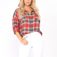 Hearts On Fire Plaid Top - Red