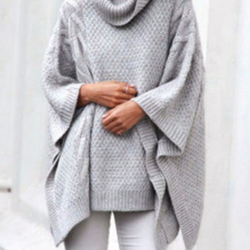 Grey Cardigan Sweater with Turtleneck