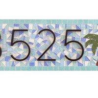 Beach House Address Sign -- House Number Plaque -- Palm Tree -- Mosaic Outdoor House Numbers