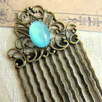 Turquoise Hair Comb Blue Vintage Inspired Hair Comb Aqua Head Piece Bridesmaid Hair Comb Victorian LOTR Hair Comb Lord of the Rings