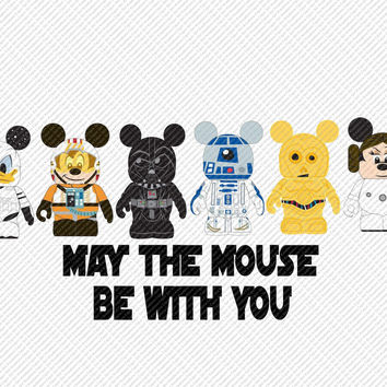 May the Mouse Be with You Star Wars Characters Disney Vacation Mouse Ears Printable Digital Iron On Transfer Clip Art Tshirts Instant Downl