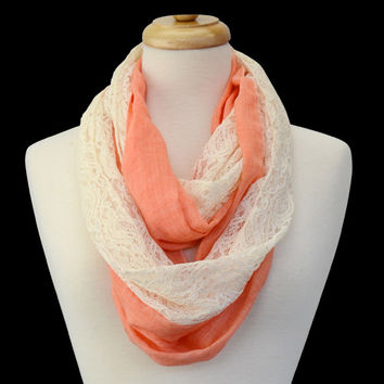 Scarf - Infinity Lace Trim Peach