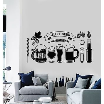 Vinyl Wall Decal Craft Beer Glass Alcohol Drinking Pub Stickers Mural (g337)