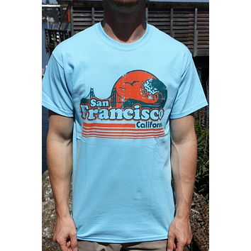 San Francisco On The Bay Short Sleeve T Blue