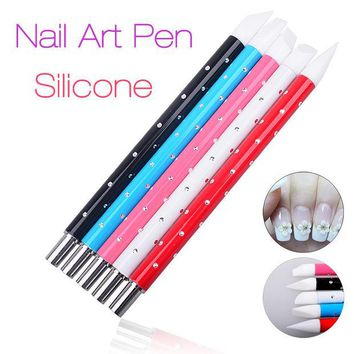 VONE2B5 5 Pcs Nail Art Pen Brushes Soft Silicone Carving Craft Supplies Pottery Sculpture UV Gel Building Clay Pencil DIY Tools 2016 New