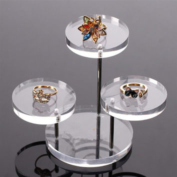 Acrylic Jewelry Display Boxes Holder Rack Box Clear Acrylic Jewelry Organizer 3 Tray Stands for Earring Bracelet Necklace  SN9