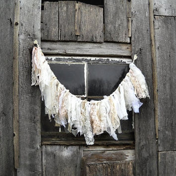 Tattered Fabric Garland  Lace Wedding Banner  by AlteredEcoDesigns