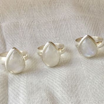 Rainbow Moonstone teardrop silver ring