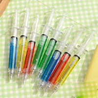 10pcs/lot Syringe Ballpoint Pen Novelty Plastic 4 Mixed Colors Stationary