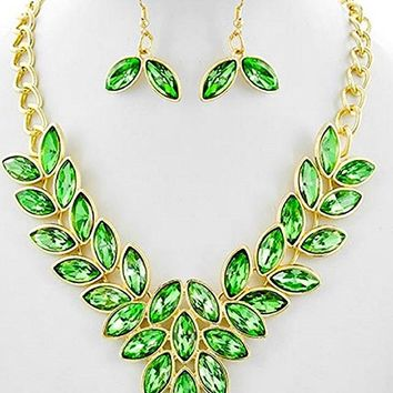 Simple Statement Crystal Statement Leaf Chain Necklace Earrings Set Affordable Fashion Jewelry