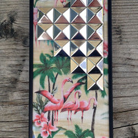Pink Flamingo Studded Pyramid iPhone 5/5s Case - iPhone 5/5s