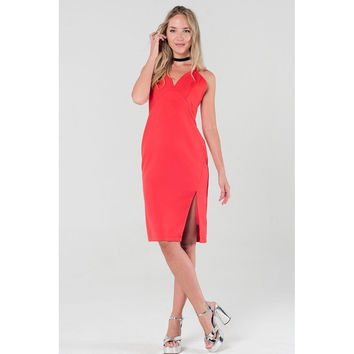 Pencil midi dress with crossed back in red