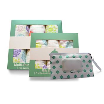 Flowers, Butterflies and Easy Baby Logo Bib Burp Cloths Combo, Swaddles and Wipes Case Set