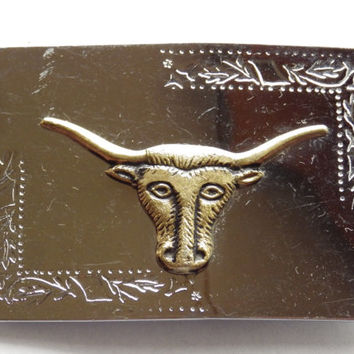 Silver tone Belt Buckle with Brass Tone Bull Head