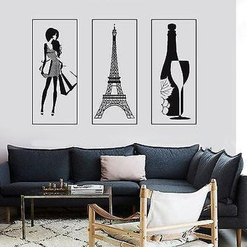 Wall Vinyl Paris Eiffel Tower Bottle Of Wine Sexy Woman Fashion France Unique Gift z2852