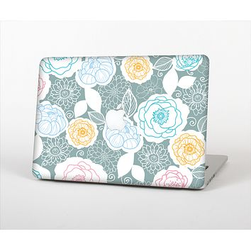 The Subtle Gray & White Floral Illustration Skin Set for the Apple MacBook Air 13""