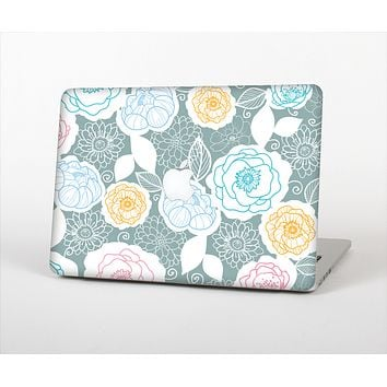 The Subtle Gray & White Floral Illustration Skin Set for the Apple MacBook Air 11""