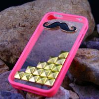 Iphone 5 case cover, Golden Studs Pyramid  frosted iphone5 case covers,Cute iphone5 ,Mustache iphone5 case