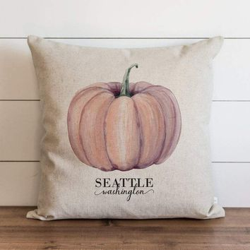 Red Watercolor Fall Pumpkin Custom City and State Pillow Cover