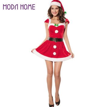 Dress Women 3 Pieces Santa Costume Faux Fur Christmas Dress Performance Uniform With Hat Waistbelt Red Vestidos SM6