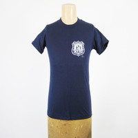 Vintage 80s NYPD T-shirt New York City Police Dept Deadstock Navy Blue Made in USA - Sm / XS