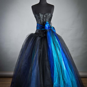 Size Small Blue and Black burlesque corset Ball gown with bow Prom Dress READY TO SHIP