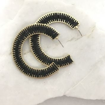 Coco Woven Hoop Earrings in Black